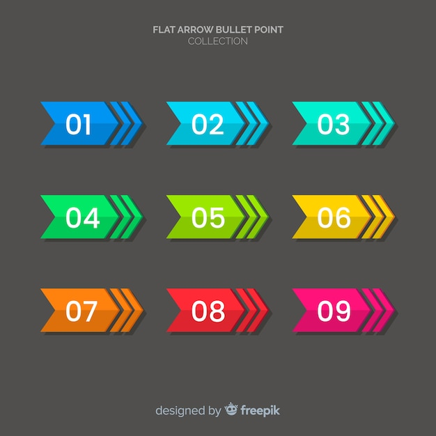 Colorful bullet point collection Free Vector