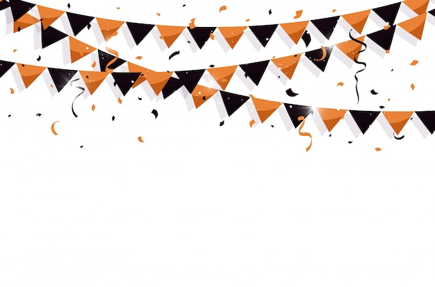 Colorful bunting flags with confetti and ribbons for halloween Premium Vector