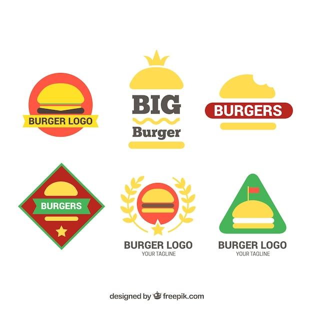 Colorful burger logo collection