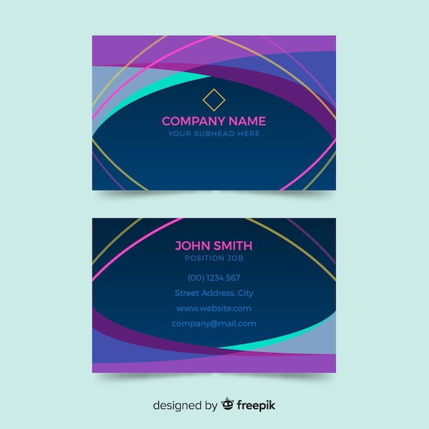 Colorful business card in abstract style Free Vector