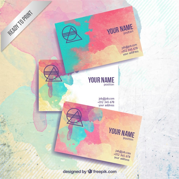 Colorful business card in hand painted style