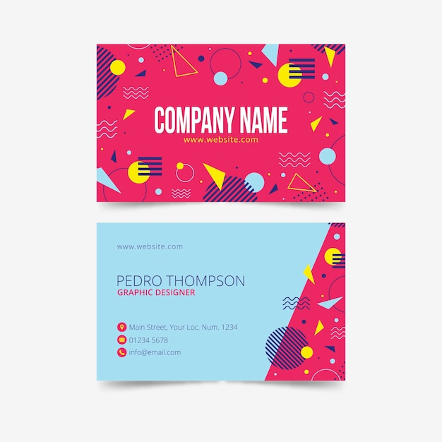 Colorful business card memphis design Free Vector