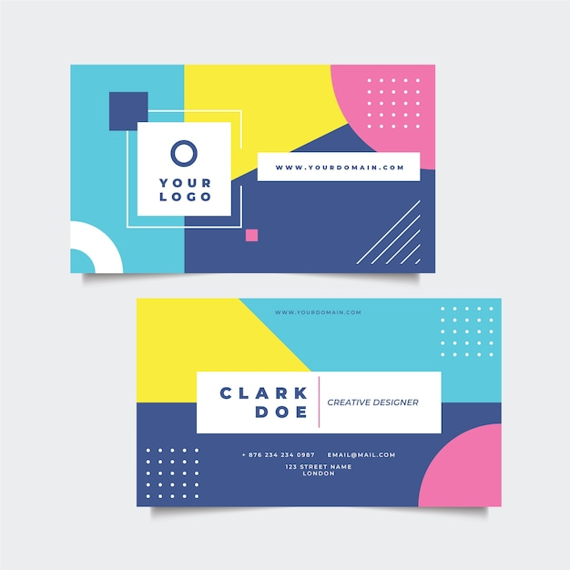 Colorful business card in memphis style Free Vector