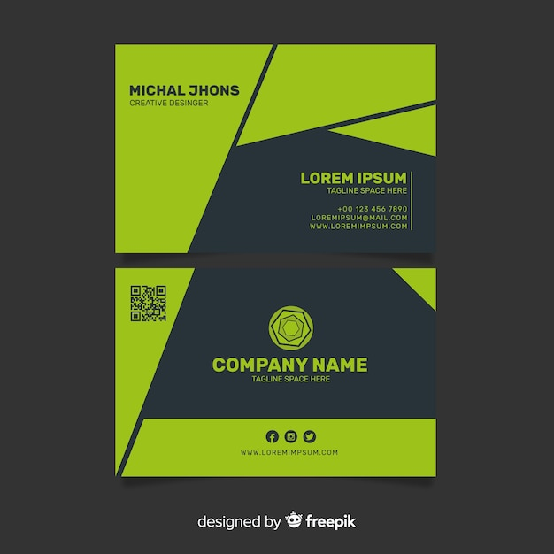 Colorful business card template Free Vector