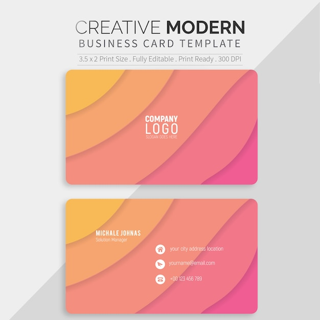 Colorful business card template Premium Vector