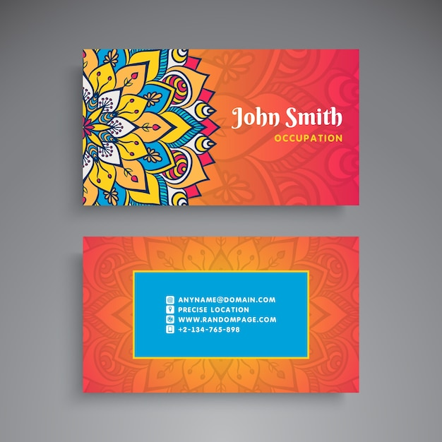 Colorful business card with floral mandala vector free download colorful business card with floral mandala free vector colourmoves