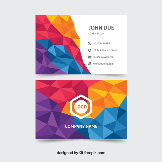 Colorful business card with geometry Free Vector