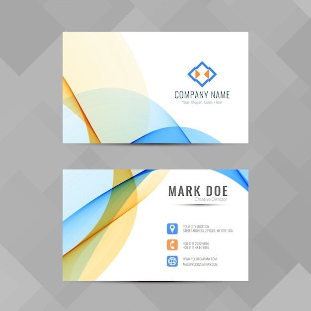 Business Card Design 2020.Colorful Business Card With Wavy Shapes Vector Free Download