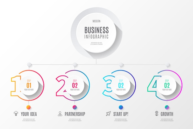 Colorful business diagram infographics with numbers Free Vector