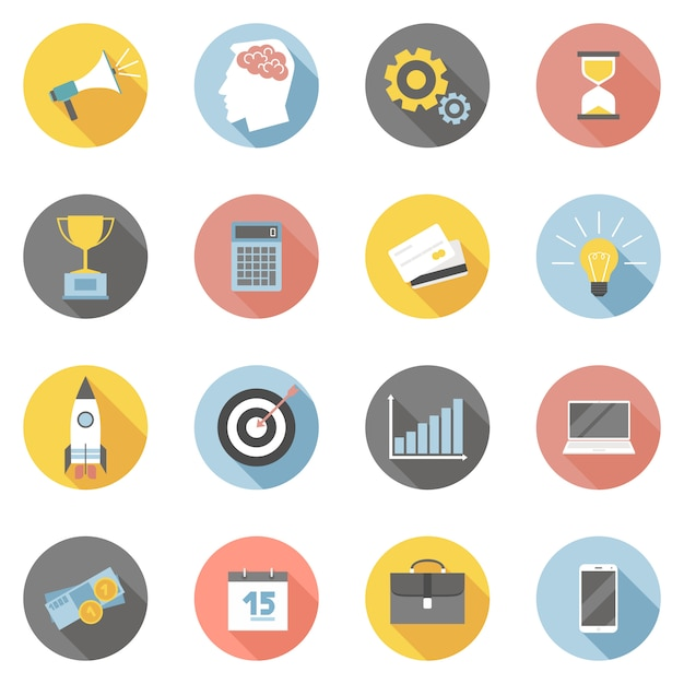 Colorful business icons flat set Free Vector