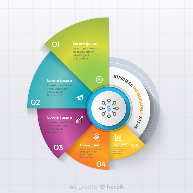 Colorful business infographic steps Free Vector