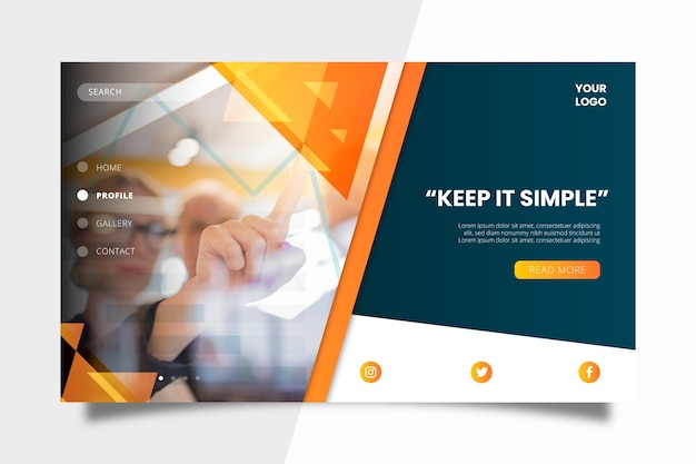 Colorful business landing page template Free Vector