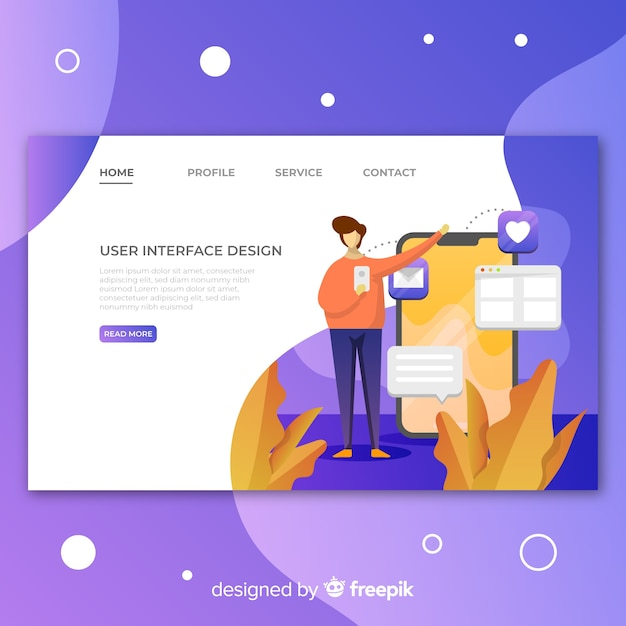 Colorful business landing page Free Vector