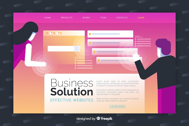 Colorful business solution landing page Free Vector