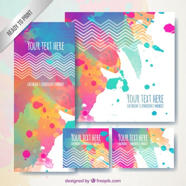 Colorful business stationery in hand painted style