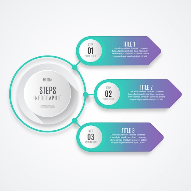 Colorful business step infographic Free Vector