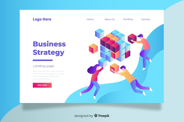 Colorful business strategy landing page with fluid shapes and characters Free Vector
