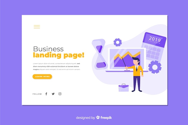 Colorful business strategy landing page Free Vector