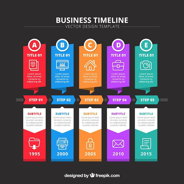 Colorful business timeline concept Free Vector