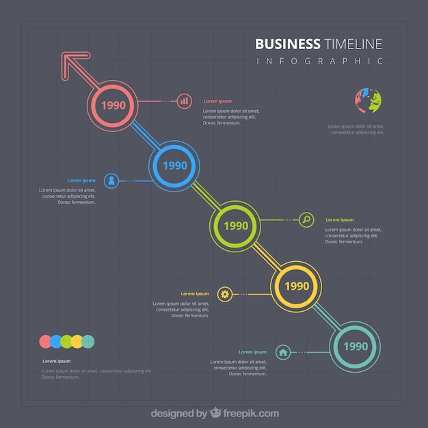 Colorful business timeline with flat design Free Vector