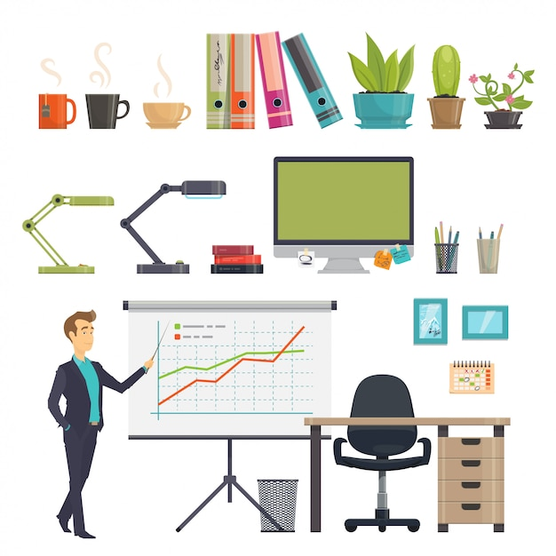 Colorful business workplace icons set Free Vector