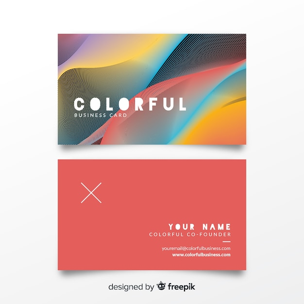 Colorful bussines card template Free Vector