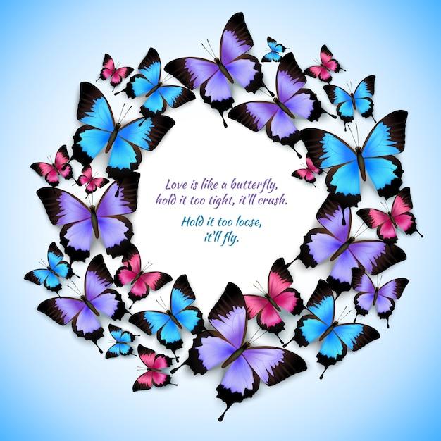 Красочные бабочки круг кадра шаблон Premium векторы