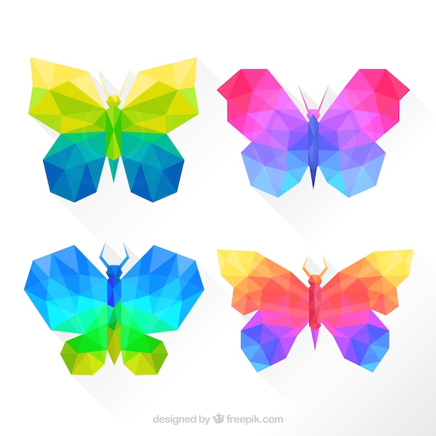 Colorful butterflies in geometric style Vector | Free Download