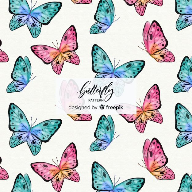Colorful butterfly background Free Vector