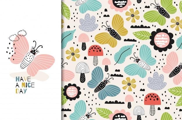カラフルな蝶の文字アイコン。キッズカードとシームレスな背景。手描き漫画デザインイラスト。 Premiumベクター