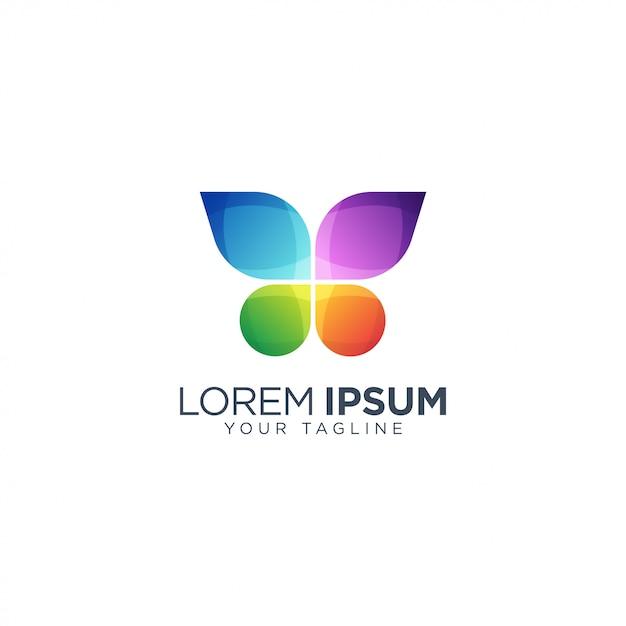 カラフルな蝶のロゴのテンプレート Premiumベクター