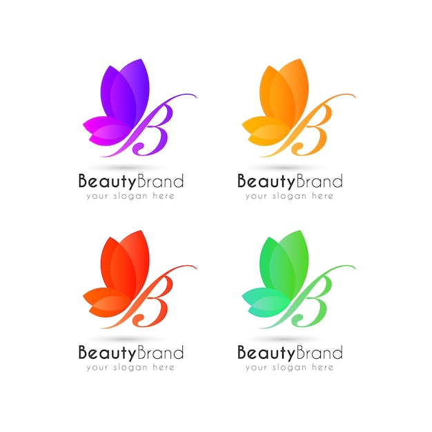 Colorful butterfly logo template Premium Vector