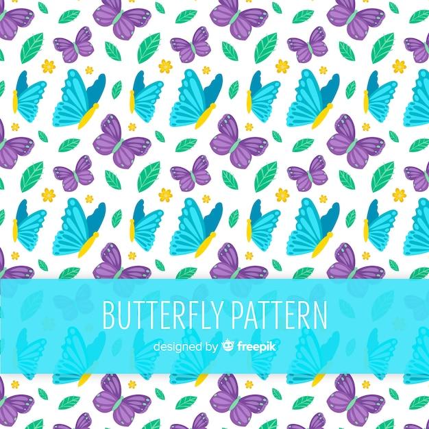 カラフルな蝶柄 無料ベクター