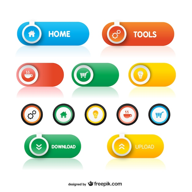 Colorful buttons pack Free Vector