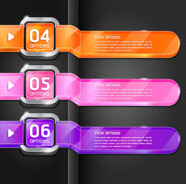 Colorful buttons website style number options banner & card background. Premium Vector