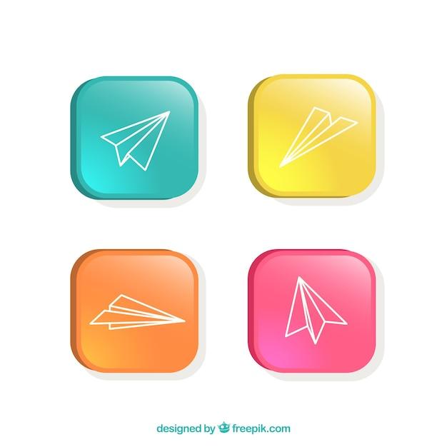 Красочные кнопки с бумажных самолетиков Бесплатные векторы