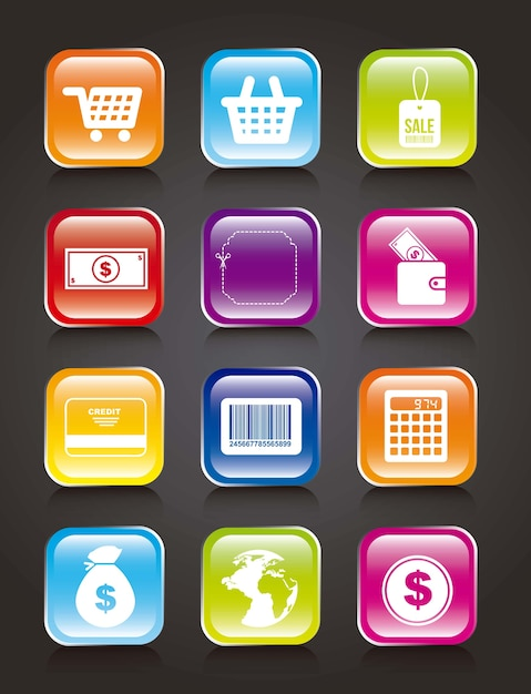 Colorful buy icons over black background vector illustration Premium Vector