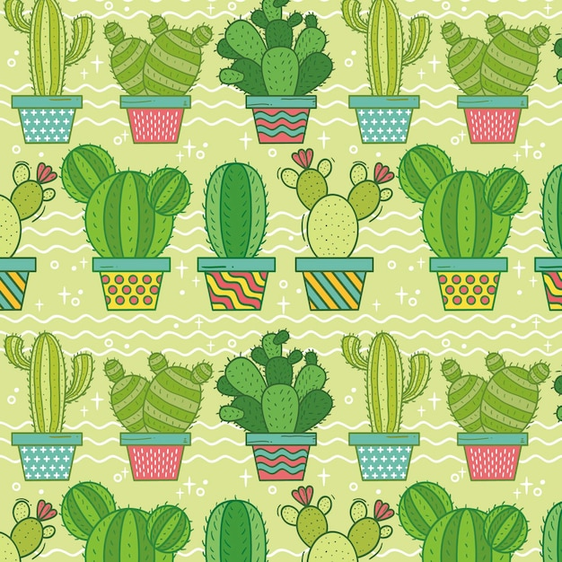 Colorful cactus pattern Premium Vector