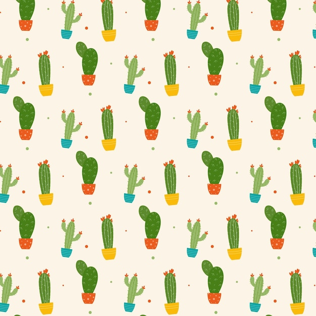 Colorful cactus plant with flowers pattern Free Vector