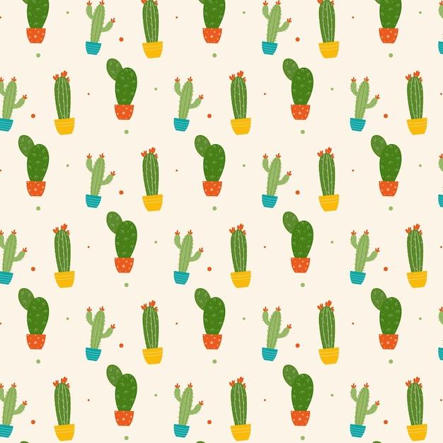 Pianta di cactus colorato con motivo a fiori Vettore gratuito