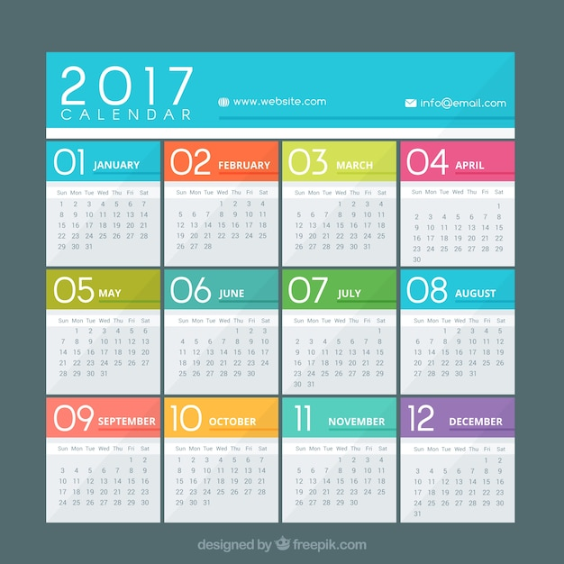 Colorful calendar of 2017 Free Vector