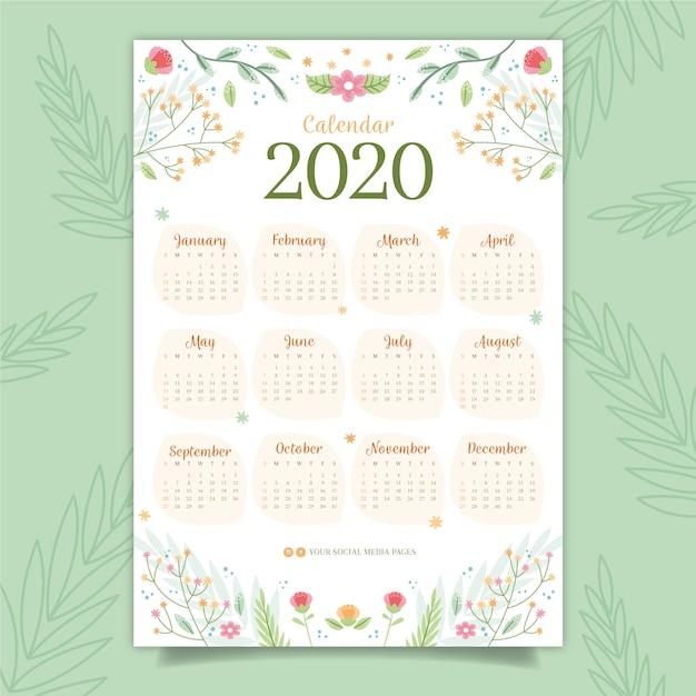 Calendario colorato 2020 Vettore gratuito
