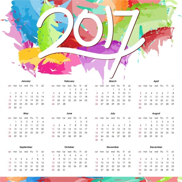 Colorful calendar for 2017 Vector | Free Download