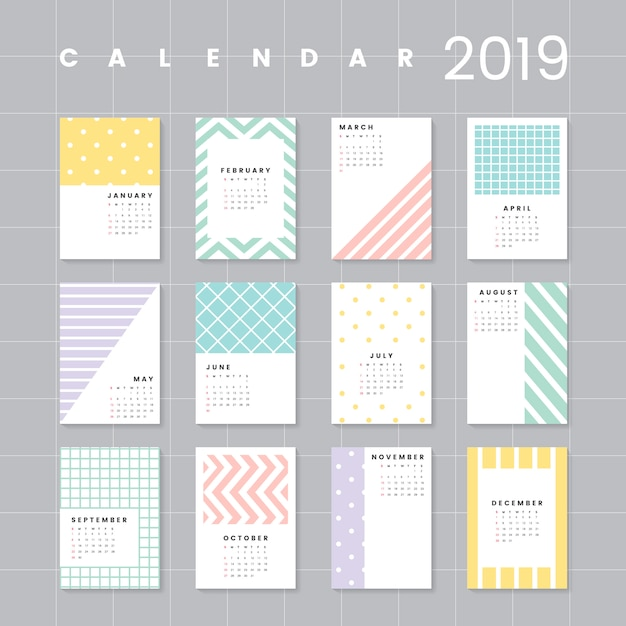 Colorful calendar mockup Free Vector