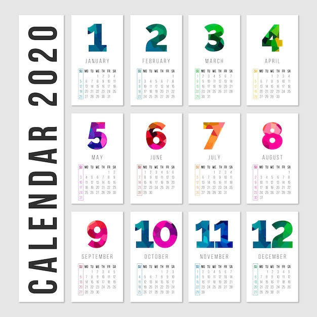 Colorful calendar with months and days Free Vector