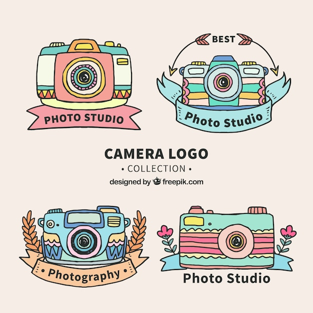 Colorful camera logo collection
