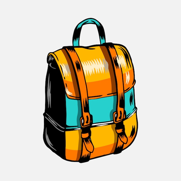 Colorful camping trip rucksack vector Free Vector