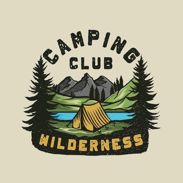カラフルなキャンプの荒野の冒険のロゴ Premiumベクター
