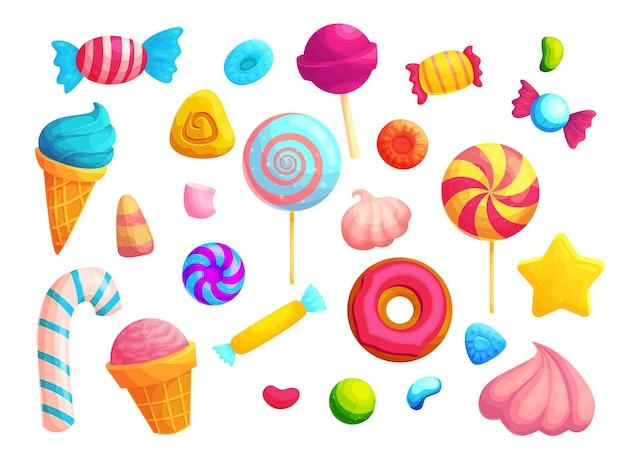 Набор красочных конфет и леденцов на палочке. набор наклеек на рожок мороженого, зефир и пончики. Premium векторы