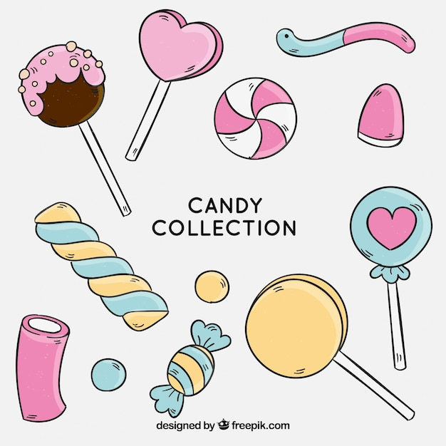 Colorful candies collection in hand drawn style Premium Vector